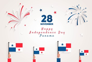 28 november. Panama Independence Day greeting card. Celebration background with fireworks, flags and text. Vector illustration