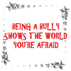 bully sign on white background with metallic stars border illustration
