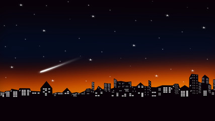 Silhouette scene of the city and twilight sky with stars and meteor.