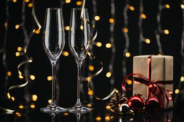 wineglasses and christmas gift