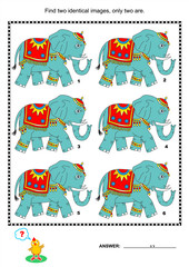 Visual puzzle or picture riddle: Find two identical images of elephants. Answer included.