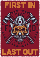 T-shirt or poster design with illustration of firefighter's skull