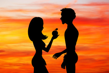 Adam and Eve with the fruit of sin at sunset