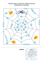 Maze game for kids: Help the spider to get to the middle of his web avoiding all the raindrops. Answer included.
