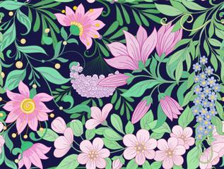 Seamless pattern, background with spring  flowers magnolia,  sak