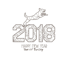New Years 2018 polygonal line Background. Year of the dog