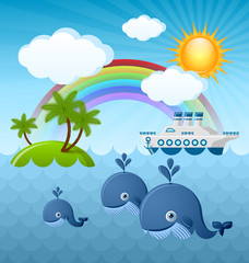 Calm summer scene with whales, Sun, clouds, rainbow, island and cruise ship in the background