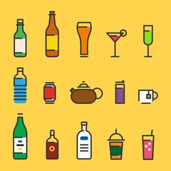 Various beverage types icon vector flat design illustration set