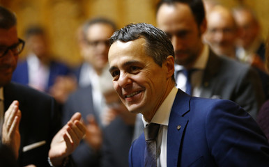 Newly elected Swiss Minister Cassis reacts at Swiss parliament in Bern