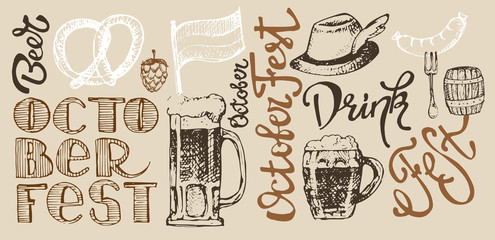 October fest. Vector  beer glasses and mugs, hat, barrel, pretzels in hand drawn style. Drink beer. Vector illustration.