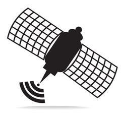 Satellite on isolated white background design with simple vector - artificial satellite black and white of concept