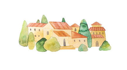 European old town, village. Isolated watercolor, noetic style