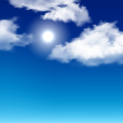 clouds on the blue background . Realistic vector illustration.