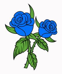 Blue Roses tattoo  - clip-art vector illustration