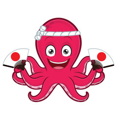 Octopus holding japanese fan