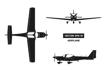 Black silhouette of airplane on white background. Fast sport aircraft. Industrial drawing of plane. Top, front and side view