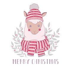 Cute alpaca with scarf and hat. Merry christmas vector greeting card. Hand drawn vector illustration.