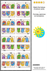 Visual puzzle: Match the halves of picture cards with colorful flip-flops. Answer included.
