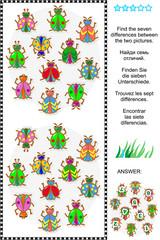 Picture puzzle: Find the seven differences between the two pictures of various bugs and beetles (plus same task text in Russian, German, French and Spanish). Answer included.