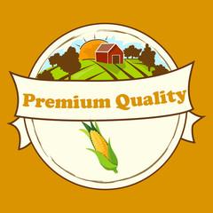 High quality vector illustration of corn label.