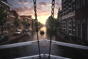 Sonnenuntergang in Leiden Holland