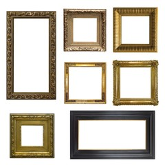 Set of gilded (gold)  frames isolated on white