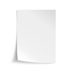 Fototapeta Vector White sheet of paper. Realistic empty paper note template of A4 format with soft shadows isolated on white background.