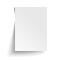 Obraz Vector White sheet of paper. Realistic empty paper note template of A4 format with soft shadows isolated on white background. - fototapety do salonu