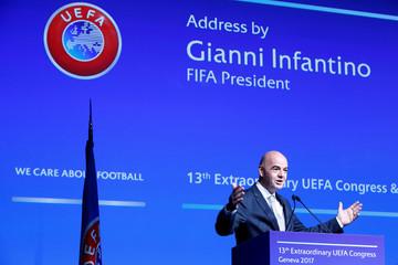 FIFA president Infantino speaks in Geneva