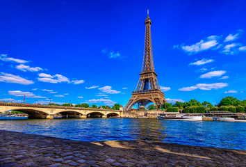 Wall Mural - Paris Eiffel Tower and river Seine in Paris, France. Eiffel Tower is one of the most iconic landmarks of Paris.