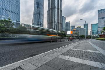 China Shanghai modern architecture, motion blur car.