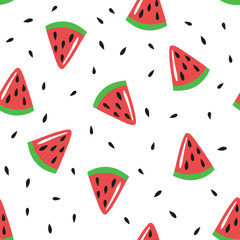 Seamless pattern with watermelon slices and seeds. Vector template suitable for gift paper, print on fabric or bedding.