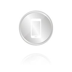 Smartphone - Silber Münze mit Reflektion