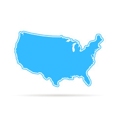 blue outline usa map with shadow