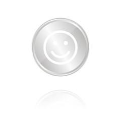 Smiley - Silber Münze mit Reflektion