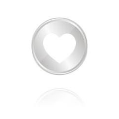 Herz - Silber Münze mit Reflektion