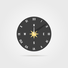 simple sundial icon with shadow