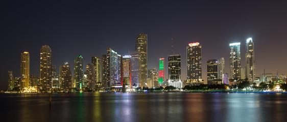Miami night skyline downtown panorama, Florida USA