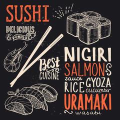 Sushi poster for restaurant.