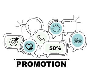 Promotion icons set for business illustration design