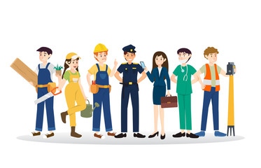 Set of diverse caree profession people illustration design