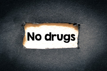 No drugs text on paper. Concept Image