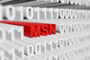 MSN as a binary code with blurred background 3D illustration