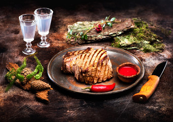 Wall Mural - Grilled beef steak entrecote barbecue
