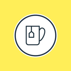 Vector Illustration Of Tea Bag Outline. Beautiful Drink Element Also Can Be Used As Mug Element.