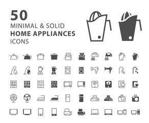 Set of 50 Minimal and Solid Home Appliances Icons on White Background . Vector Isolated Elements