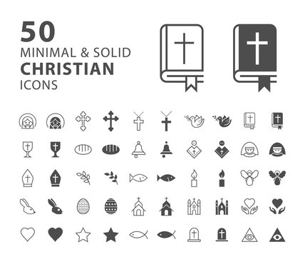 Set of 50 Minimal and Solid Christian Icons on White Background . Vector Isolated Elements