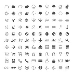 Set of 100 Thin Line and Solid Weather and Airport Icons on White Background . Vector Isolated Elements