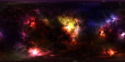 Deep space, stars and nebula, 360 degrees panorama, HDRI high resolution environment map
