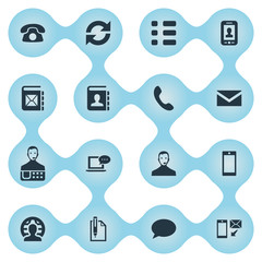 Vector Illustration Set Of Simple Communication Icons. Elements Selfie, Online Support, Cellular Appliance And Other Synonyms Dialogue, Messaging And Job.
